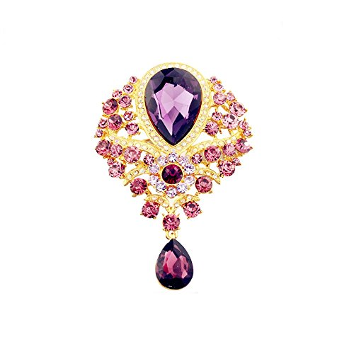 Brooch Dangling Crystal (Elehere Crystal Brooch Pin - Large Wedding Dangling Rhinestone Brooch Bouquet DIY, Ceremony Decoration (Purple Gold))