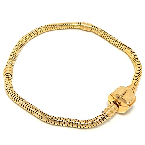 Stainless Steel Starter Charm Bracelet Barrel Gold Tone Snap Clasp (6.8 inch) -
