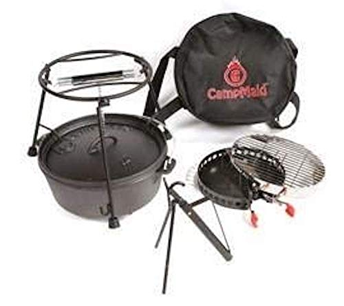 CampMaid Complete Outdoor Cookout Grill Set with Charcoal Ch