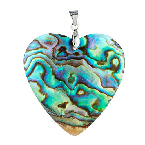 SUNYIK Heart Shaped Abalone Shell Love Pendant Necklaces for Women ()