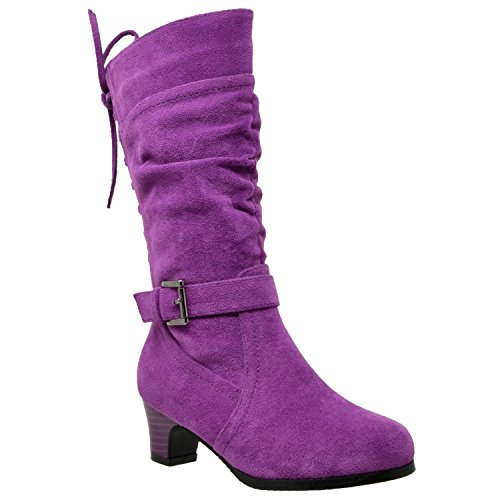 Generation Y Kids Knee High Boots Corset Lace Up Back Buckle Strap Low Heel Shoes Purple SZ 2 Youth -