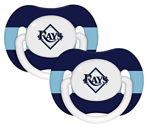 MLB Tampa Bay Rays Striped-2 Pack Team Logo Pacifiers - Navy Blue/Light Blue