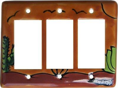 Desert Talavera Triple Decora Switch Plate by Fine Crafts & Imports