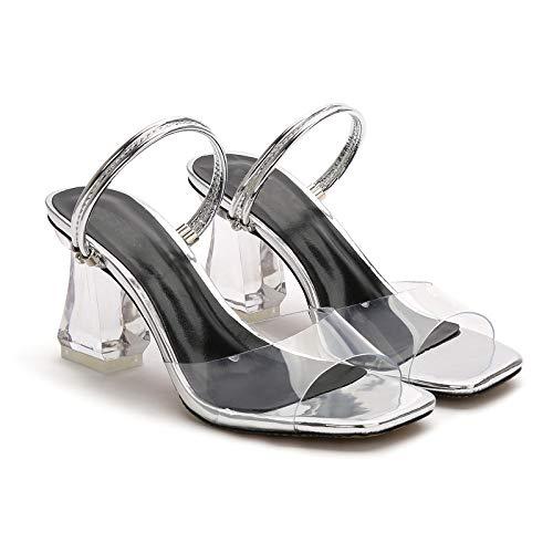Open Scarpe Sandali Slingback Quadrato Toe Donna Tacco Alboc Col Silver Sera Elegante qtwpBFnX