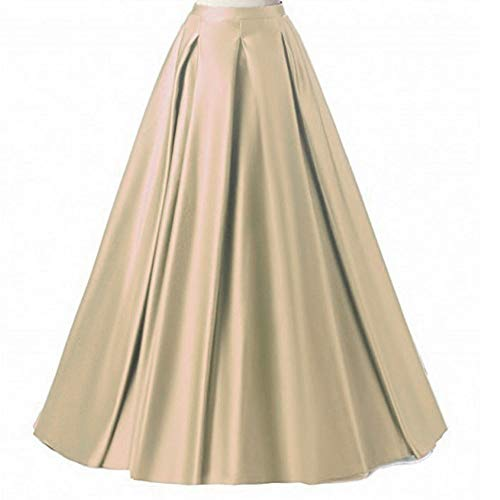 Ladies Fashion A-line Skirt - Diydress Women's Long Fashion High Waist A-Line Satin Skirts with Pockets X-Large Champagne