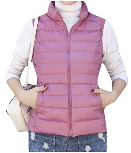 Jacket Parka up Womens Sleeveless Stand AngelSpace Pockets Solid Collar Pink Zip zwHcB8qx