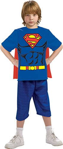 Boys Superman Shirt Cape Kids Child Fancy Dress Party Halloween Costume, L (12-14) (Superman T Shirt With Cape)