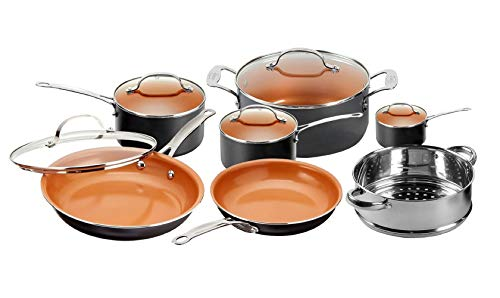 Gotham Steel 12 Piece Copper Kitchen Set with Non-Stick Ti-Cerama Copper Coating by Chef Daniel Green - Includes Skillets, Fry Pans and Stock Pots