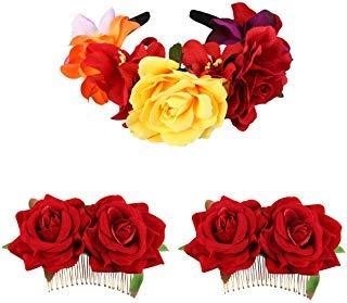 Mexican Flower Hair Clip, Kisslife Rose Flower Hair Clip Women Rose Flower Hair Accessories, The Dead Headband Costume Rose Flower Crown Mexican Headpiece Festival Wedding Hair Clip Flamenco Dancer -
