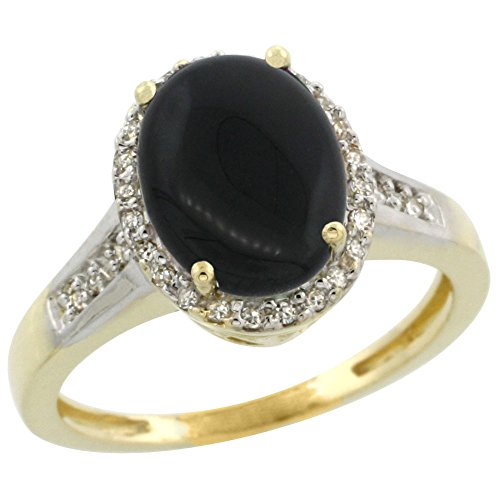 [10K Yellow Gold Diamond Natural Black Onyx Engagement Ring Oval 10x8mm, size 7] (10k Gold Onyx Diamond Ring)