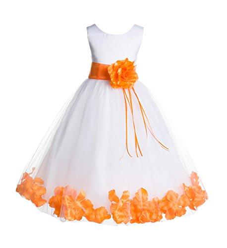 ekidsbridal Rose Petals White Flower Girl Dresses Pageant