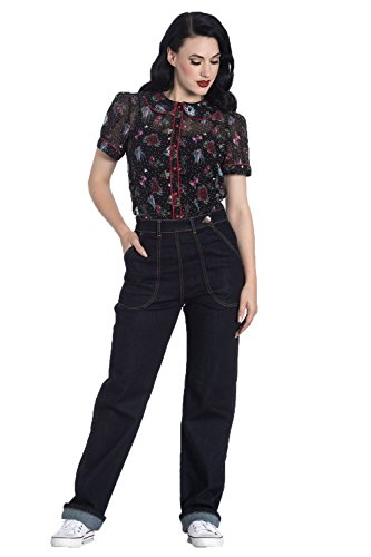 - Hell Bunny Weston Denim Jeans 40s 50s Vintage Retro Rockabilly Trousers Pants - Navy Blue (L)