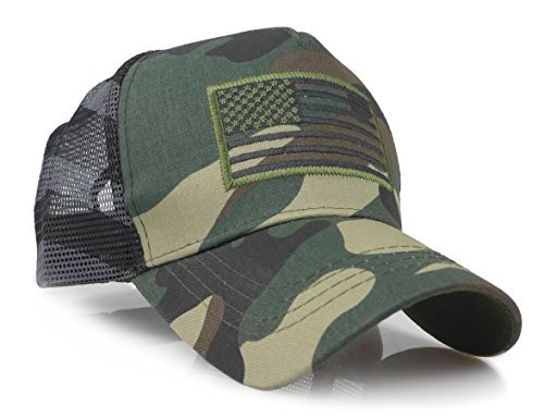 USA American Flag Embroidered Stars and Stripes Tactical Mesh Trucker Baseball Snapback Cap Hat (Woodland)
