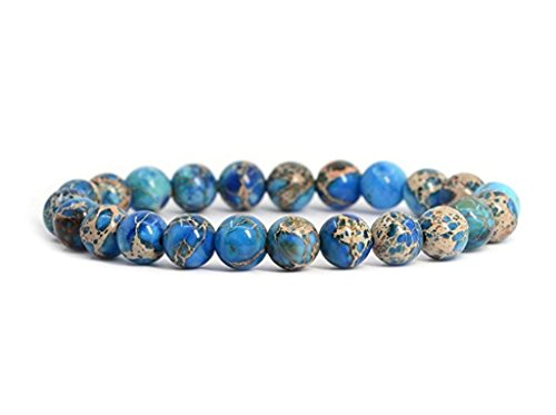 Top Quality Natural Blue Sea Sediment Jasper Gemstone Bracelet 7