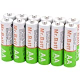 Mr.Batt NiMH Rechargeable AA Batteries Pre-Charged Low Self-Discharged, 12 Pack