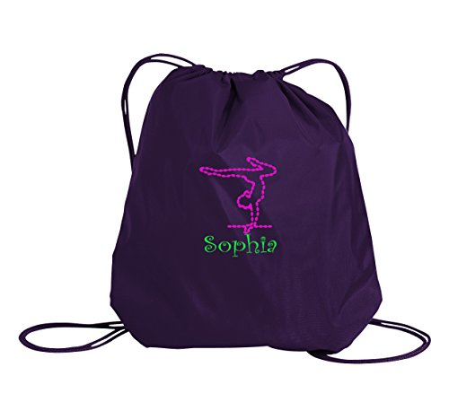 All about me company Gymnastics Personalized | Drawstring Sack Cinch Backpack (Purple)]()