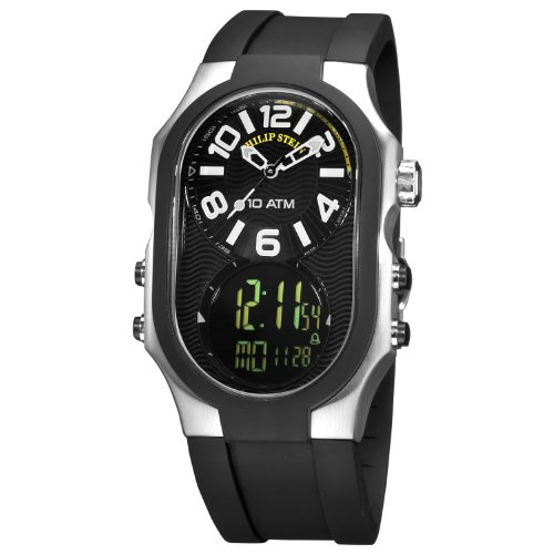 - Philip Stein Men's 3RB-AD-RB Signature Black Plated Chronograph Black Rubber Strap Watch