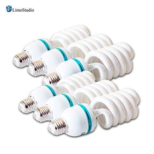 LimoStudio [6-Pack] 45W Full Spectrum Spiral Photo Light Bulb, Energy Saving 6500K Pure White Daylight Balanced CFL Light for Photography and Video, - Bulbs Spectrum Cfl Full