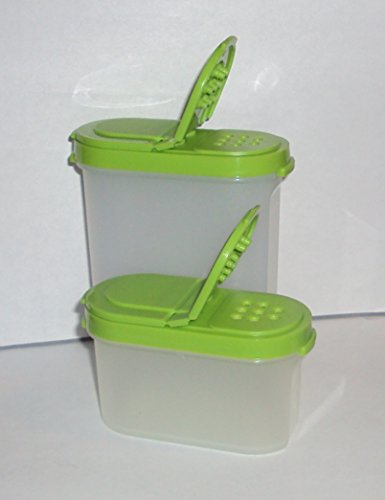 (Tupperware Green Modular Mates Spice Containers Salt and Pepper Shakers)