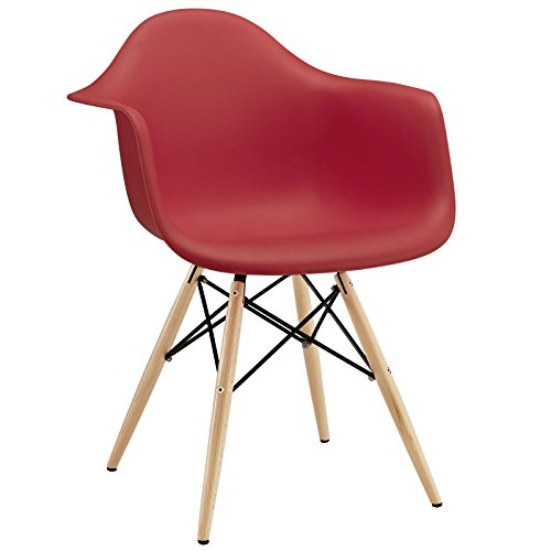 Modway Pyramid Dining Armchair with Natural Wood Legs in Red