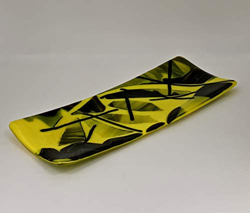 Black and Yellow Handcrafted Fused Glass Decorative Plate