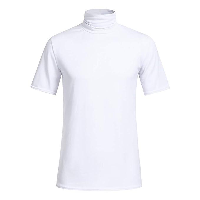 Cebbay Camiseta de Hombre Color sólido Cuello Alto Casual Manga ...