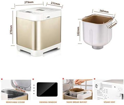 ZTGL Panificadora Inoxidable Pequeña con Temporizador, Máquina para Hacer Pan Multifunción con 18 Programas, 3 Colores de Corteza, Temporizador de Retardo y Mantener Caliente