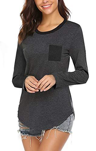 (Yidarton Women's Long Sleeve Round Neck T Shirt Color Block Casual Pocket Tops (S, Z-Gray))