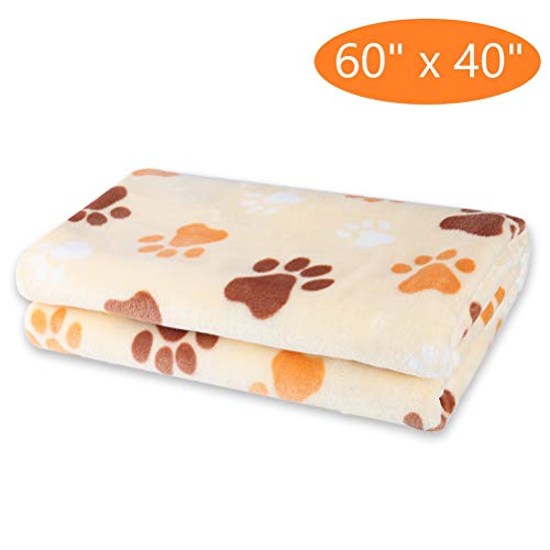 KOOLTAIL Large Dog Fleece Blanket - Pet Throw Bed Blankets Paw Print 60