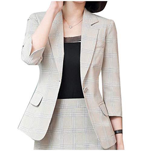 Lunga Lunga Lunga Elegante da HX Modern Anteriori Chic Chic Chic Cappotto Ragazza Tasche Donna Reticolo Tailleur Button Stile Autunno Giacca Apricot Coat Bavero Manica Blazer fashion gqgIxnwfY6