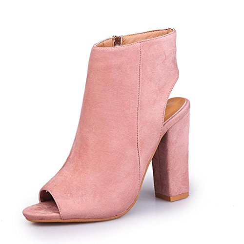 Fheaven Womens Sandals Peep-Toe Suede Solid High Chunky Block Heeled Shoes Pink G0cQC27aKQ