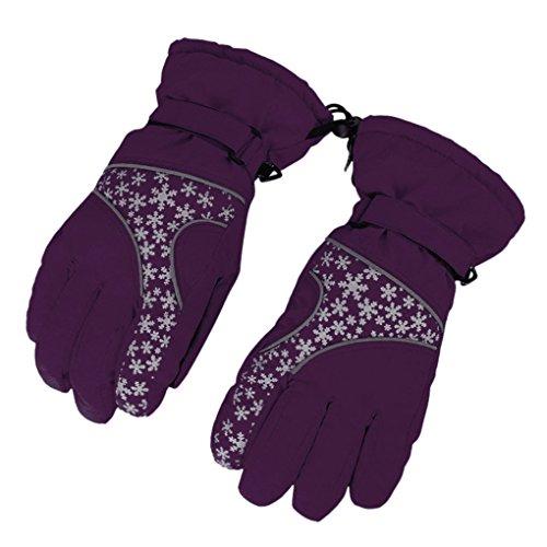スキー手袋レディース防寒防風防水冬用クリスマス手袋スノーグローブスノボグローブ超厚い保温滑り止め雪花かわいい自転車バイクスキー登山スノーボードスポーツウェア婦人大人パープル