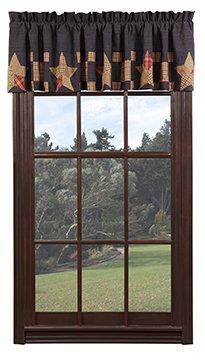 VHC Brands Americana Classic Country Kitchen Window Curtains-Arlington Tan Block Border Valance