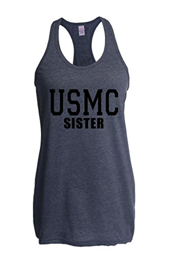Xekia USMC Sister Proud Marine Corps Women Racerback Tank Clothes Large Heather Navy