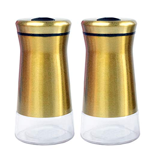 Pepper & Salt Shakers Stainless Steel Cover Glass Bottom With Rotating Adjustable Cover - Spice Sugar Shakers (Metallic - Gold Shaker Salt