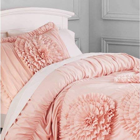 Better Homes and Gardens Ruffled Flowers Bedding Comforter Set, Full/Queen, Pink from Better Homes & Gardens