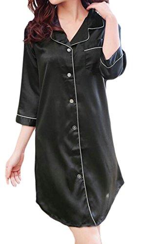 (Frieed Womens Basics 3/4 Sleeve Satin Button-Front Sleep Shirt Dress Nightshirts Black XL)