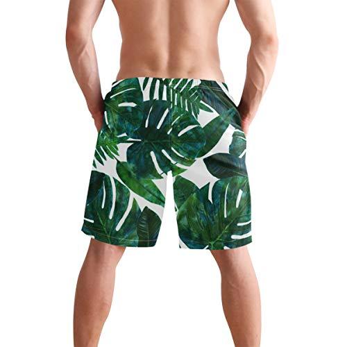REBACAT Abstract Blue Print Mens Swim Trunks Quick Dry Beach Board Shorts with Drawstring Pocket