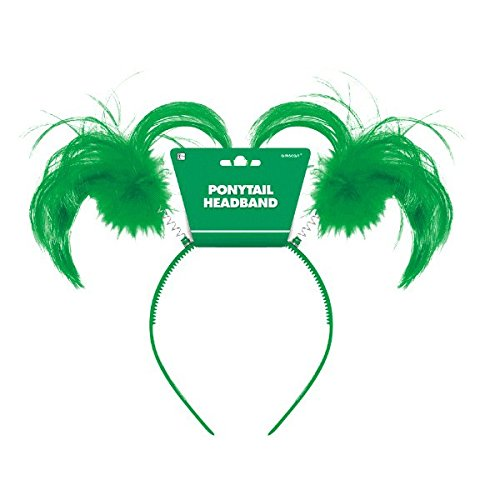 Amscan Feathers & Ponytails Headband Costume Party Headwear Accessory, Green, Plastic, 5