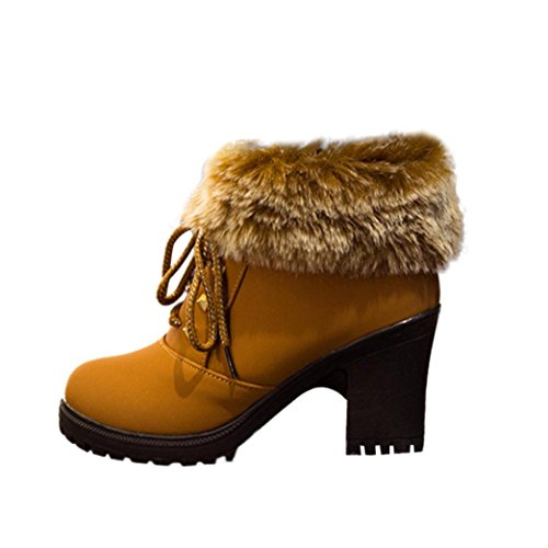 Ankle Martin Brown Women Heels Side Zipper Shoes High Boots Winter Snow Boots Faux Inkach Fur BTvAwq1RW