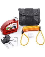 Kit Trava de Disco Vermelha c/Alarme Anti Furto Segurança Proteção Moto Bike com Bolsa e Cabo Lembrete