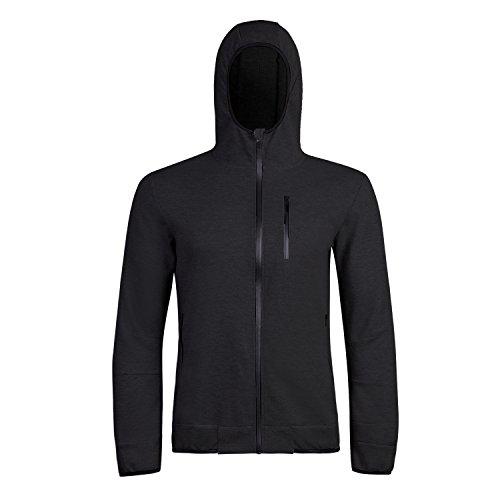 3 Zip Hoodie (BELE ROY Men Full-Zip Hooded Sweatshirt With Three Pockets,Men Sportswear Hoodies,Running Coat (X-Large, Black))