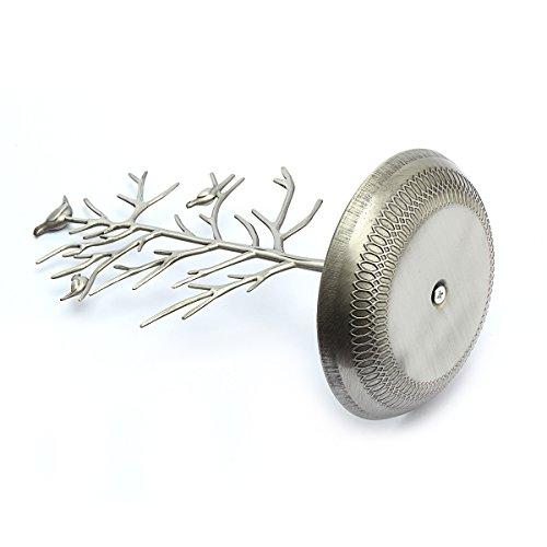 Birds Baumschmuckständer Anzeige Ohrring-Halsketten-Halter Schmuckständer (Antique Silver) - 4