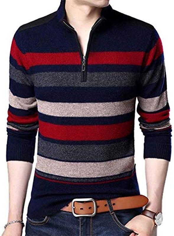 Męski sweter z dzianiny wiosna jesień casual długi rękaw sweter Knit Crew Neck Classic paski sweter bluza z dzianiny chłopięca: Odzież