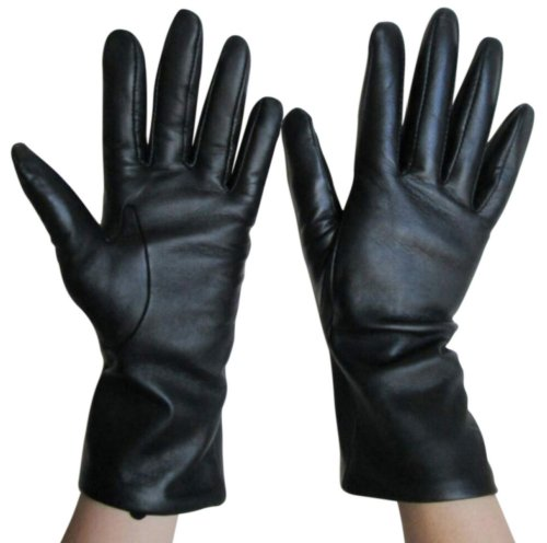 Fownes Women's Cashmere Lined Smart Black Lambskin Leather Gloves 6.5/S