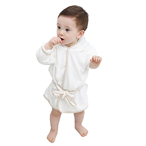 Natural White Bath Robe Baby Boy and Girl 100% Certified Organic Cotton (100% Bamboo Robe)