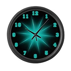CafePress - Large Blue Neon Star Wall Clock - Large 17 Round Wall Clock, Unique Decorative Clock