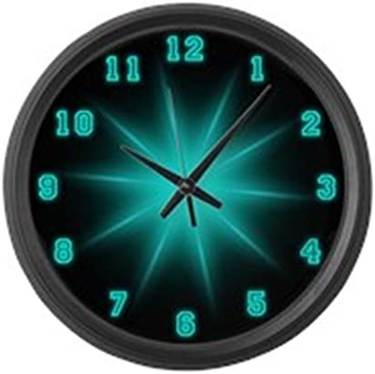 CafePress – Large Blue Neon Star Wall Clock – Large 17 Round Wall Clock, Unique Decorative Clock
