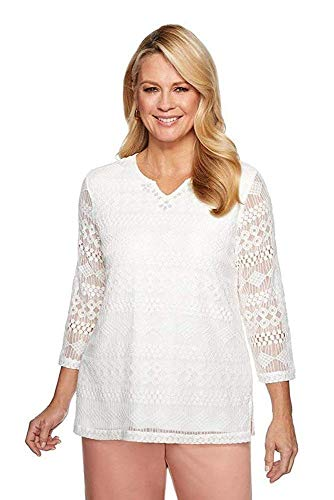 Alfred Dunner Women's Good to Go Solid Lace Top (Petite Large) Ivory ()