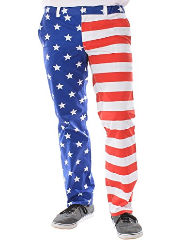 Men's Trousers - American Flag Pants Size L